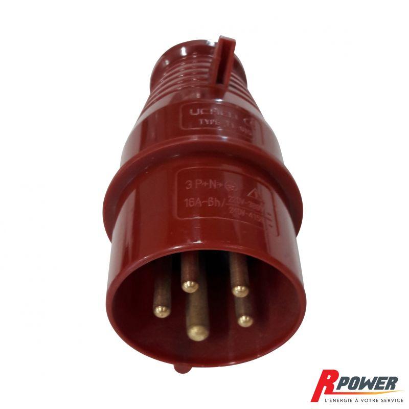 Prise mâle triphasé 380V 16A 3P+N+T pour groupe électrogène ITC Power